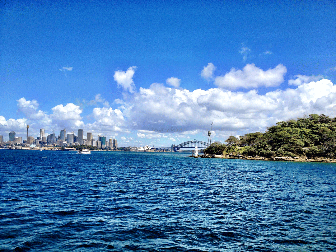 Sydney Harbour Bridge and the city skyline from the Manly Ferry