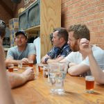 The group chills and enjoys our beers with Jamie chatting Sydney's other craft breweries