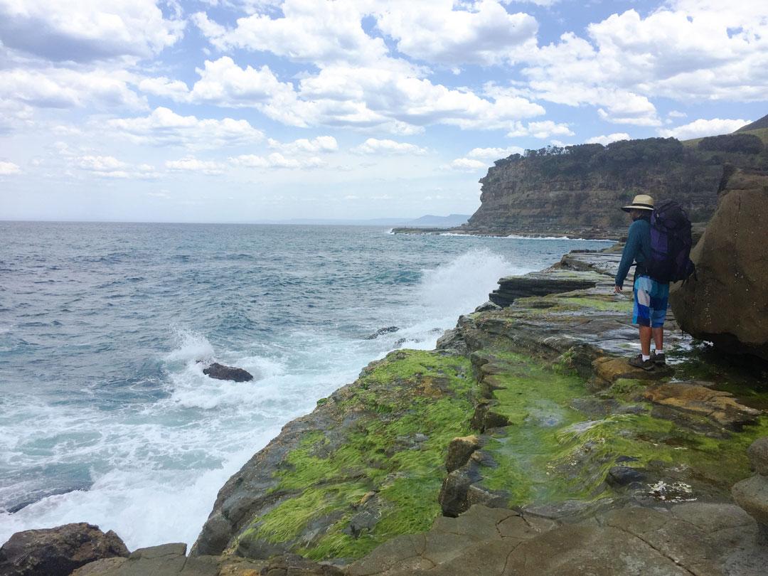Adam leading us on the treacherous coastal hike to the Figure 8 Pools